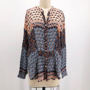 FREE PEOPLE Long Sleeve Batik Spell Shirt Boho